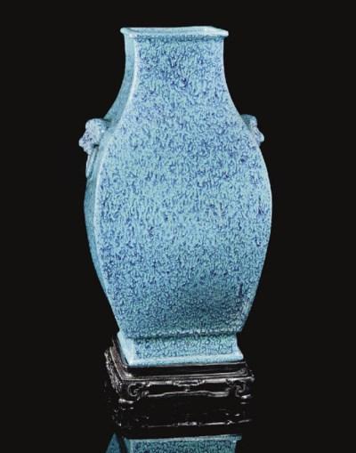 A Robin's Egg glazed vase, Fan