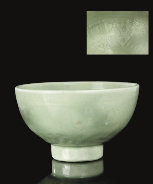 An unusual moulded celadon bow