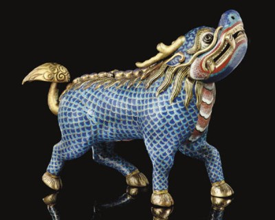 A Cloisonne and gilt Qilin for