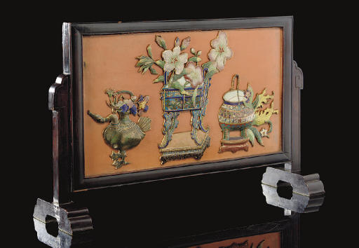 A cloisonne enamel inset table
