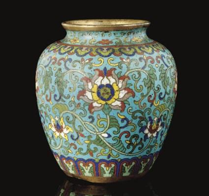 A cloisonne ovoid vase, Qianlo