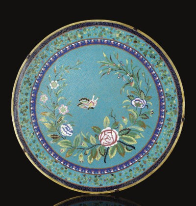 A cloisonne enamelled circular