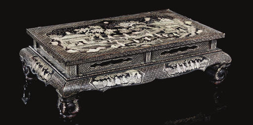 A black mother-of-pearl inlaid