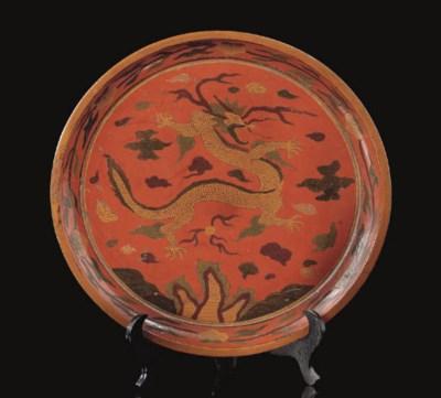 A polychrome decorated circula