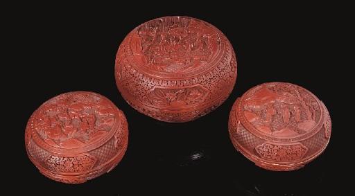 Three cinnabar lacquer circula