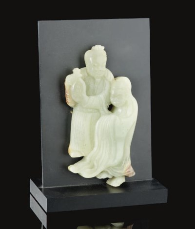 A celadon jade dignitary and m