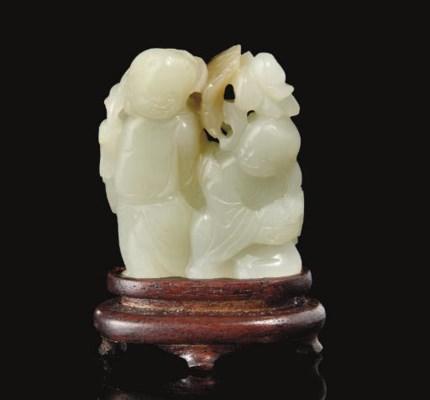 A grey-white jade HeHe Erxian