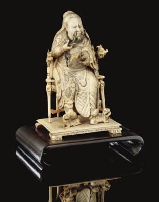An ivory figure of Guandi, 19t