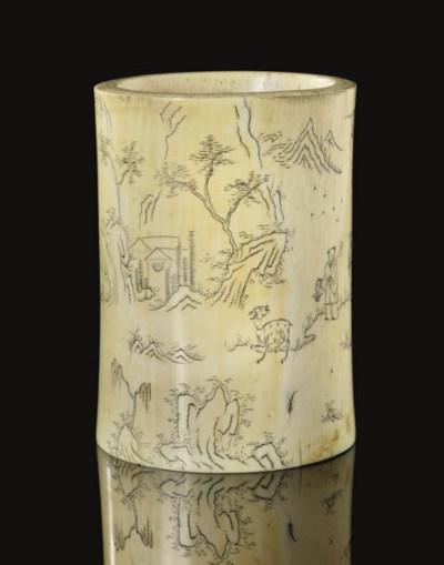 An ivory brushpot, 18th/19th C