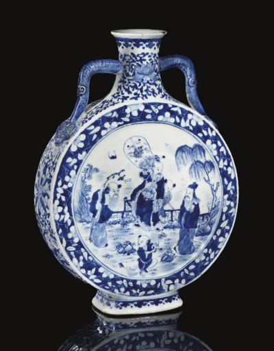 A Blue and white moonflask, 19