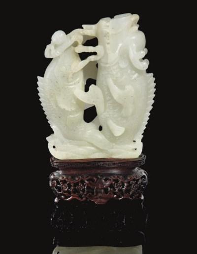 A pale celadon twin fish vase