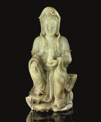 A large yellow jade figure of