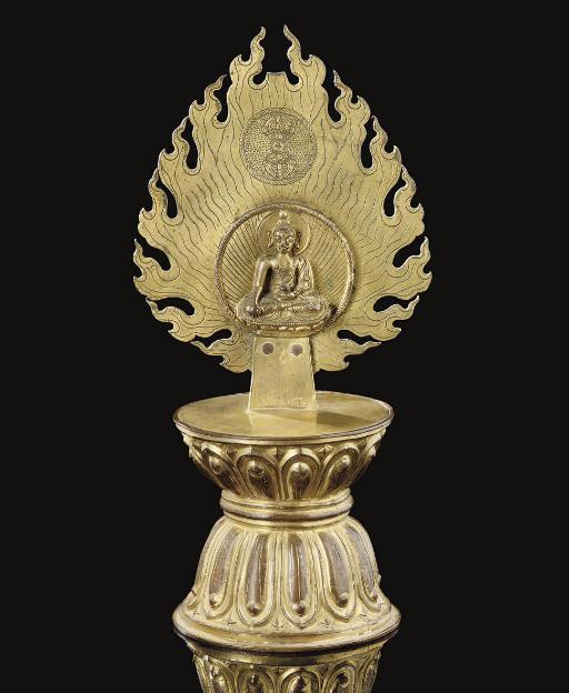 A Mongolian gilt copper Trirat