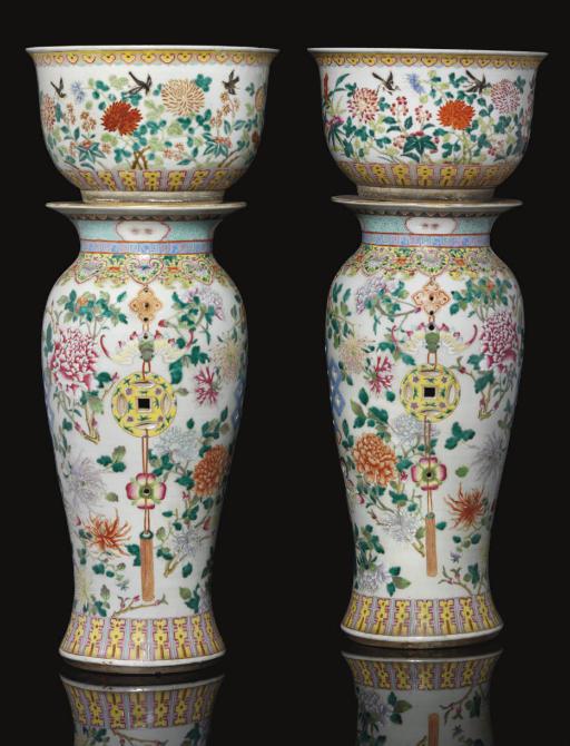A pair of famille rose pedesta