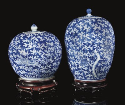Two blue and white jars and co