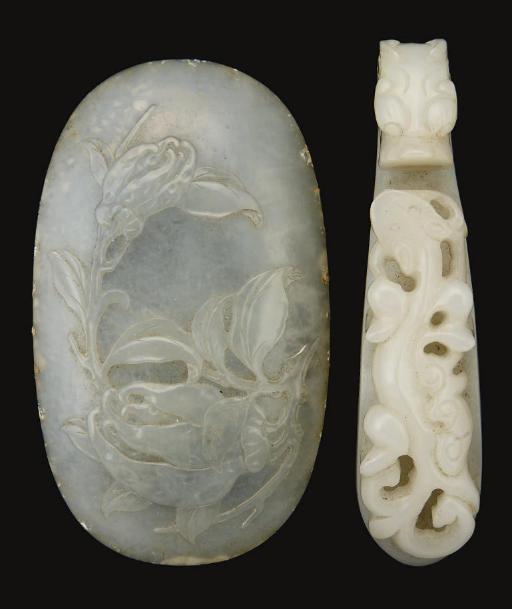 A white jade belt hook, 19th c