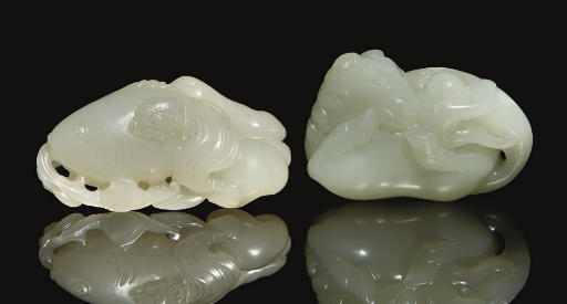 Two white jade carvings, 18th