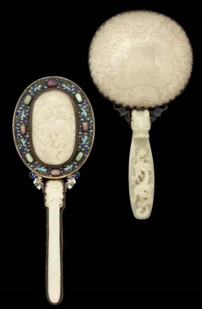 Two silver mounted jade mirror