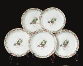 Five enamelled saucer-dishes, Tianqi/Chongzhen (1621-1644)
