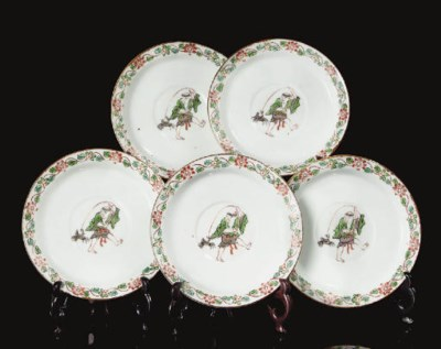 Five enamelled saucer-dishes,