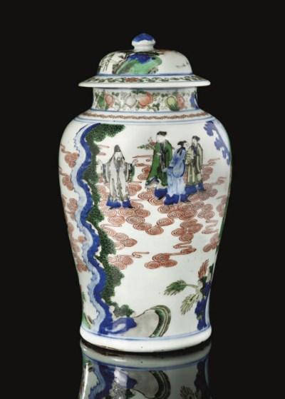 A pair of wucai baluster jars,