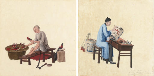 A SET OF FOUR TRADE PAINTINGS,
