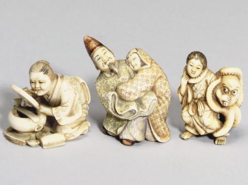 Four Japanese ivory netsuke, l