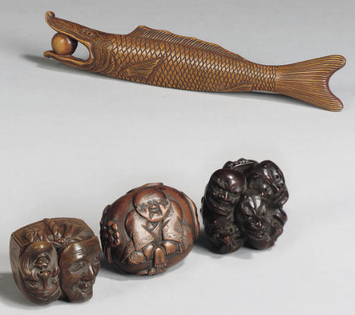 A Group of three Japanese wood