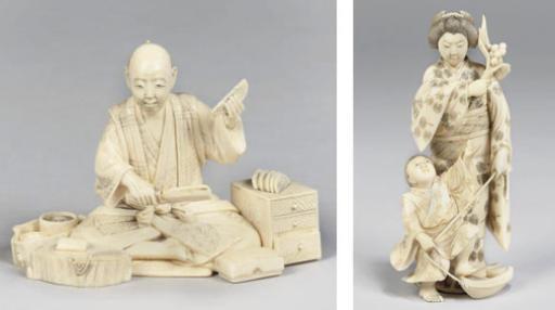 Two Japanese ivory okimono, si