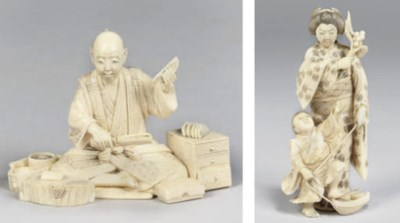 Two Japanese ivory okimono, si