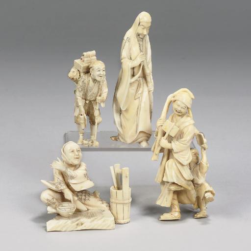 Four Japanese ivory okimono, M