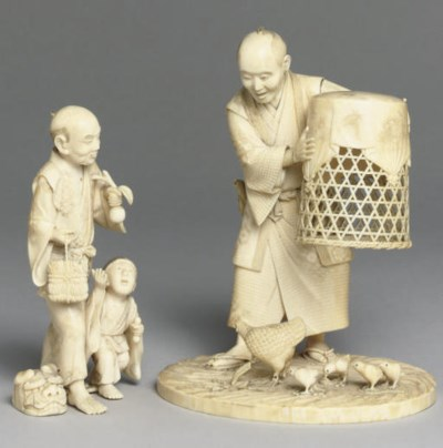 Two Japanese ivory okimono, 19