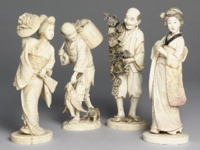 A group of four Japanese ivory