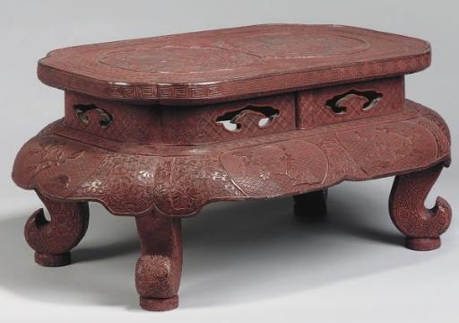 A Chinese cinnabar lacquer sta