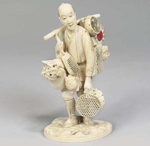 A Japanese ivory okimono, sign