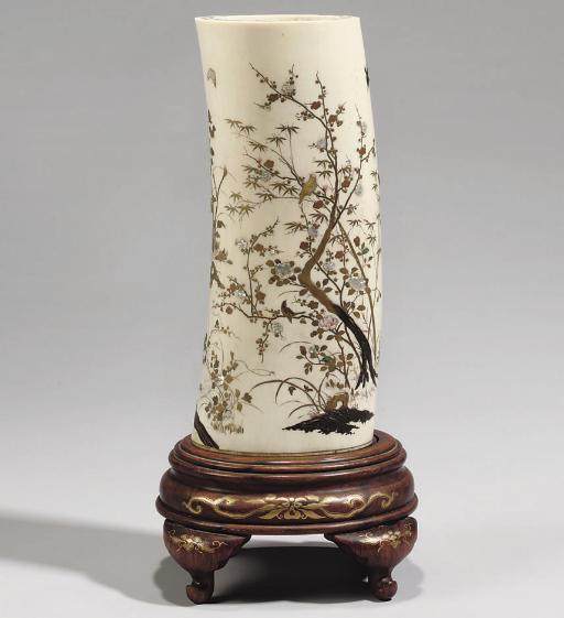 A Japanese ivory tusk vase, 19
