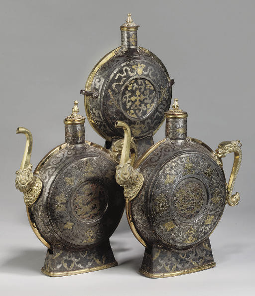 Three Tibetan metalwork vessel