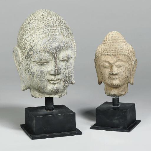A Chinese stone head of Buddha