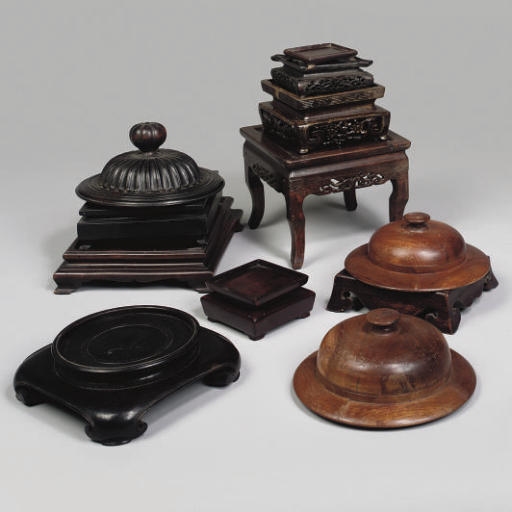A group of Chinese wood stands