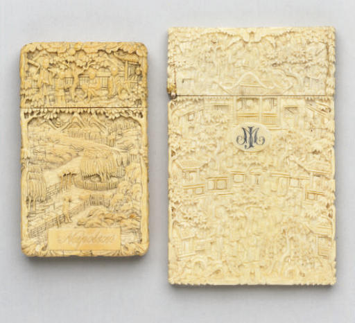 Two Cantonese ivory card-cases