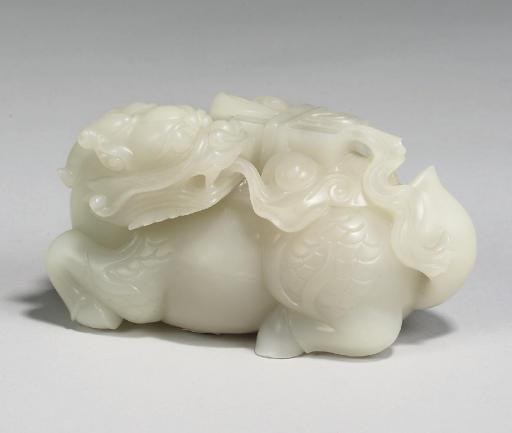 A Chinese white jade crouching