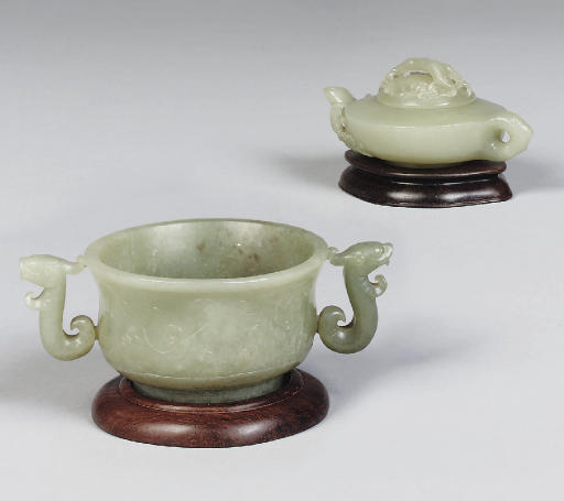 A Chinese celadon jade two-han