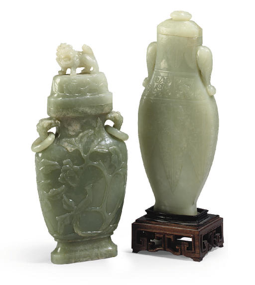 Two Chinese celadon jade vases