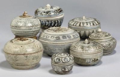 Eight Sawankhalok boxes and co