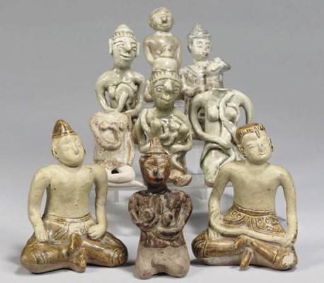 Nine various Thai glazed and p