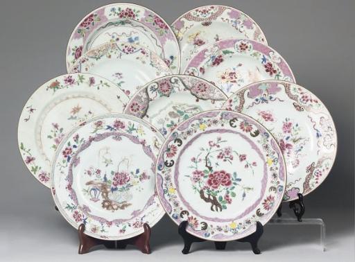 Nine Chinese famille rose plat