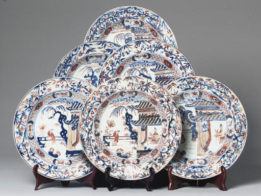 A set of six Chinese Imari pla