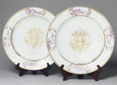 A pair of monogrammed dishes,