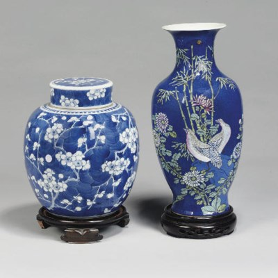 Two Chinese blue-ground vases,
