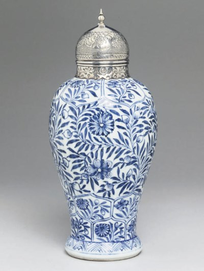 A Chinese blue and white silve